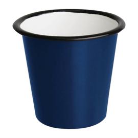 Emaille sauspotje blauw en zwart 11,4cl