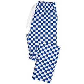 Essential broek met elastische taille blauw/wit blok