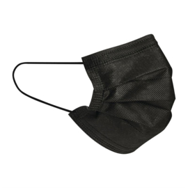 Drielaags mondkapjes zwart (50 stuks)