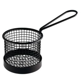 Olympia groot zwart fritesmandje rond met handvat