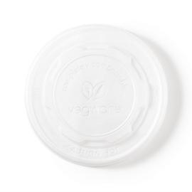 Vegware composteerbare platte deksels deksels voor 34cl en 45,4cl bakjes