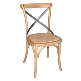 Bolero houten stoel met gekruiste rugleuning naturel 2 stuks
