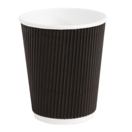 Fiesta koffiebekers met geribbelde wand zwart 22,5cl