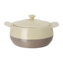 ronde braadpan crème en taupe 1,8ltr
