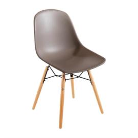 Bolero polypropyleen stoelen met houten poten bruin