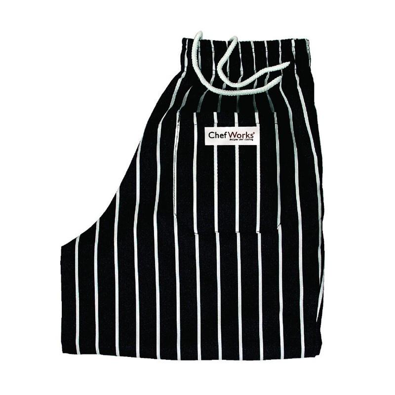 Chef Works Designer Baggy uniseks koksbroek zwart-wit gestreept maat M