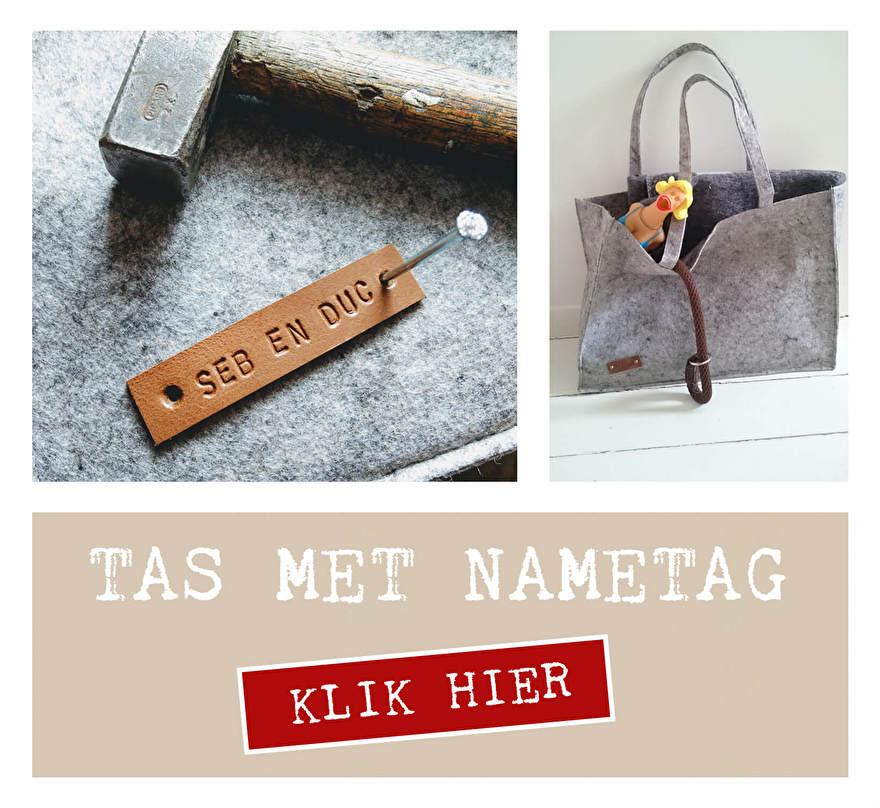 Gepersonaliseerde tas van vilt. Wil jij ook een tas met name tag? Geef door welke naam er op je tas mag en ontvang jouw handgemaakte vilten bigshopper. Duurzaam en origineel.