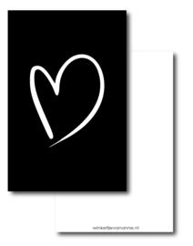 Minikaartje zwart, hartje