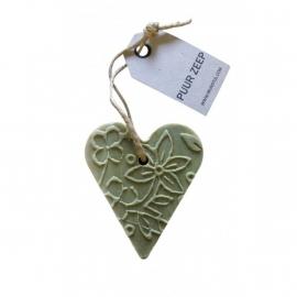 Zeep hanger hartje batik, L groen