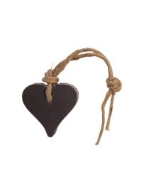 Zeephanger hartje bruin, inclusief houten labeltje