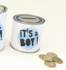 Kado blikje spaarpot: it's a boy