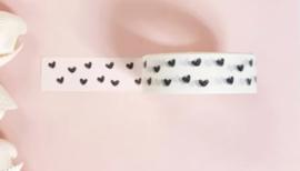 Masking tape: wit met zwarte hartjes