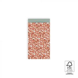 2 kleine kadozakjes ( A7 ) warm rood bloemen, inclusief sticker
