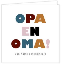 Dubbele postcard inclusief envelop: OPA EN OMA! van harte gefeliciteerd