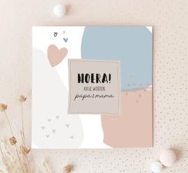 Dubbele postcard incl envelop: HOERA! jullie worden papa en mama