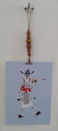 Kaarten/poster hanger, licht bruine houten kralen