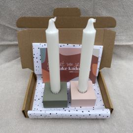 Doosje vol leuks: candle green/pink