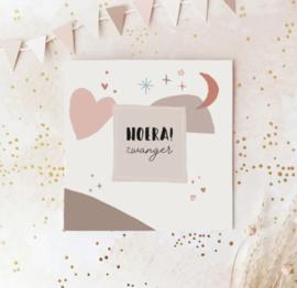 Dubbele postcard: HOERA! zwanger