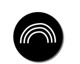 5 x kado sticker: regenboog (zwart)