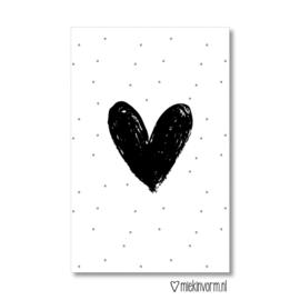 Minkaartje: zwart hartje (M)