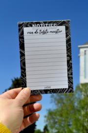 Notitieblokje (A6) van de tofste meester (inclusief minikaartje en Meester sticker)