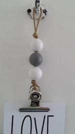 kaarten/poster hanger, 3 kralen, wit/grijs, grote klem