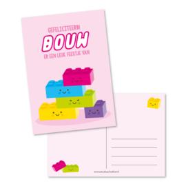 Postcard, Gefeliciteerd, BOUW er een leuk feestje van (roze)