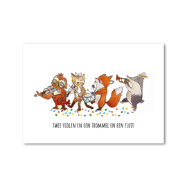 Postcard: twee violen en een trommel en een fluit