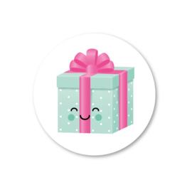 5 stickers, kadootje groen/roze