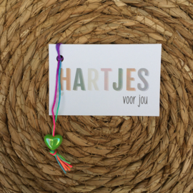 mini kaartje: hartjes voor jou, inclusief gelukshartje