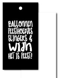 Kado label, ballonnen feesthoedjes...