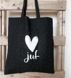 Tas Juf, zwart met wit hart, inclusief minikaartje en sticker