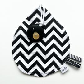 Speendoekje: zigzag met witte achterkant van wafelstof