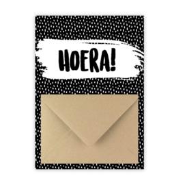 Geldkaart: HOERA! (zwart/wit)