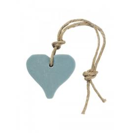 Zeephanger hartje, blauw inclusief houten labeltje
