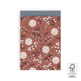 2 kadozakjes 17x25 cm (A5) inclusief 2 stickers, warm rood