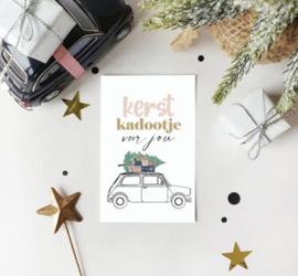 Mini kaartje: kerst kadootje voor jou (auto)