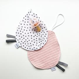 Speendoekje: monochrome stippen en roze wafel katoen