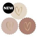 2 x 3 kado stickers Ø 55 mm: 3 kleuren met gouden hartje