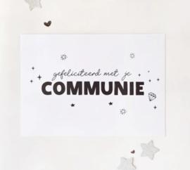 Postcard: gefeliciteerd met je COMMUNIE