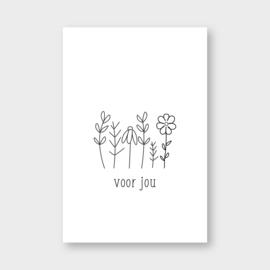 Mini kaartje: voor jou (bloemen)