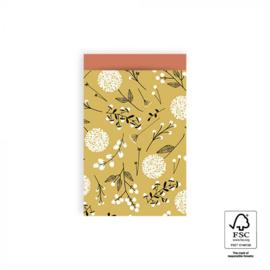 2 kadozakjes oker geel, bloemen (A6), inclusief sticker