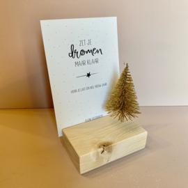 Kaarthouder gouden kerstboom incl kerstkaart make all your dreams come true ue