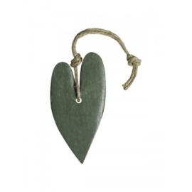 Zeephanger hart XL: (leger)groen, inclusief houten labeltje