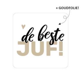 5 x Kado sticker: de beste JUF!