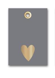 Kadolabel donker grijs, hartje goudfolie
