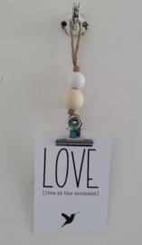 kaarten/poster hanger, naturel/wit, grote klem
