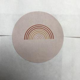 5 x kado sticker regenboog licht roze