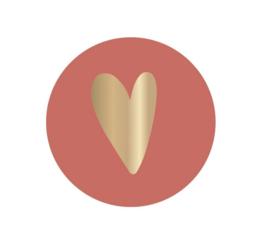 5 x kado sticker: brique met gouden hartje