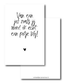 Minikaartje: van een juf zoals jij word ik echt een potje blij! (W)